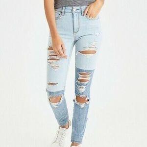American Eagle Two Tone Hi Rise Skinny Jeans